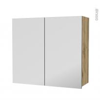 Armoire de salle de bains - Rangement haut - OKA Chêne - 2 portes miroir - Côtés décors - L80 x H70 x P27 cm