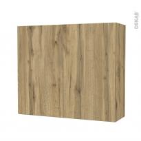 Armoire de salle de bains - Rangement haut - OKA Chêne - 2 portes - Côtés décors - L80 x H70 x P27 cm