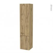 Colonne de salle de bains - 2 portes - OKA Chêne - Côtés décors - Version B - L40 x H182 x P40 cm