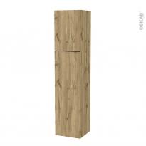 Colonne de salle de bains - 2 portes - OKA Chêne - Côtés décors - Version A - L40 x H182 x P40 cm