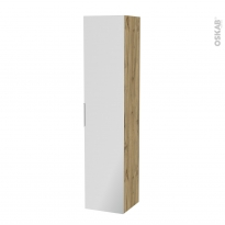 Colonne de salle de bains - 1 porte miroir - OKA Chêne - Côtés décors - L40 x H182 x P40 cm