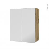 Armoire de salle de bains - Rangement haut - OKA Chêne - 2 portes miroir - Côtés décors - L60 x H70  xP27 cm