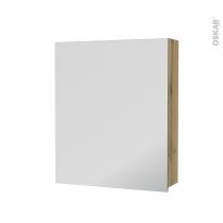 Armoire de toilette - Rangement haut - OKA Chêne - 1 porte miroir - Côtés décors - L60 x H70 x P17 cm