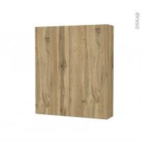 Armoire de toilette - Rangement haut - OKA Chêne - 2 portes - Côtés décors - L60 x H70 x P17 cm