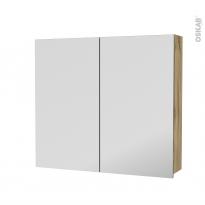 Armoire de toilette - Rangement haut - OKA Chêne - 2 portes miroir - Côtés décors - L80 x H70 x P17 cm