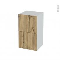 Meuble de salle de bains - Rangement bas - OKA Chêne - 2 tiroirs - L40 x H70 x P37 cm