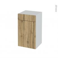Meuble de salle de bains - Rangement bas - OKA Chêne - 1 porte 1 tiroir - L40 x H70 x P37 cm