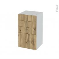 Meuble de salle de bains - Rangement bas - OKA Chêne - 4 tiroirs - L40 x H70 x P37 cm