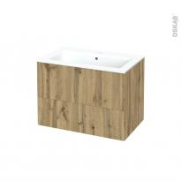 Meuble de salle de bains - Plan vasque NAJA - OKA Chêne - 2 tiroirs - Côtés décors - L80.5 x H58.5 x P50.5 cm