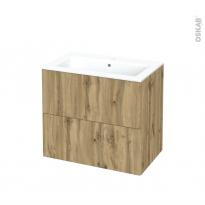 Meuble de salle de bains - Plan vasque NAJA - OKA Chêne - 2 tiroirs - Côtés décors - L80,5 x H71,5 x P50,5 cm