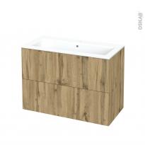 Meuble de salle de bains - Plan vasque NAJA - OKA Chêne - 2 tiroirs - Côtés décors - L100,5 x H71,5 x P50,5 cm