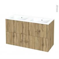 Meuble de salle de bains - Plan double vasque NAJA - OKA Chêne - 4 tiroirs - Côtés décors - L120,5 x H71,5 x P50,5 cm