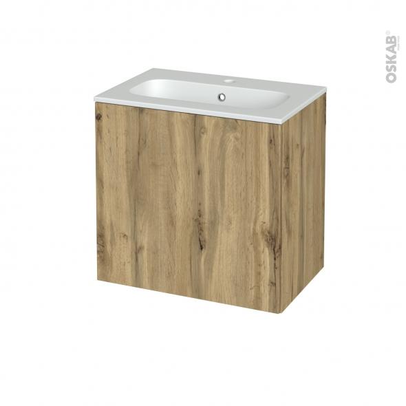 Meuble de salle de bains - Plan vasque REZO - OKA Chêne - 1 porte - Côtés décors - L60,5 x H58,5 x P40,5 cm