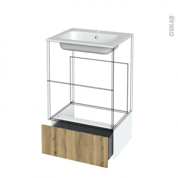 Tiroir sous meuble - Socle n°51 - OKA Chêne - pour meuble salle de bains - L60 x H26 x P45 cm