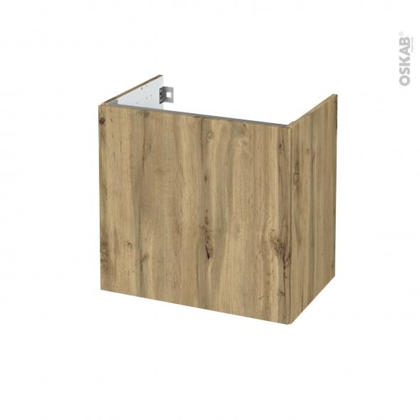 Meuble de salle de bains - Sous vasque - OKA Chêne - 1 porte - Côtés décors - L60 x H57 x P40 cm