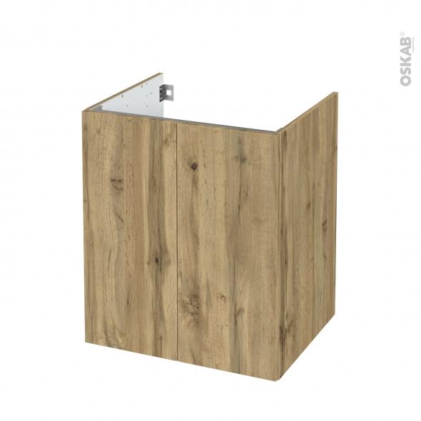 Meuble de salle de bains - Sous vasque - OKA Chêne - 2 portes - Côtés décors - L60 x H70 x P50 cm