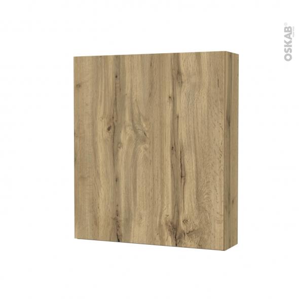 Armoire de toilette - Rangement haut - OKA Chêne - 1 porte - Côtés décors - L60 x H70 x P17 cm