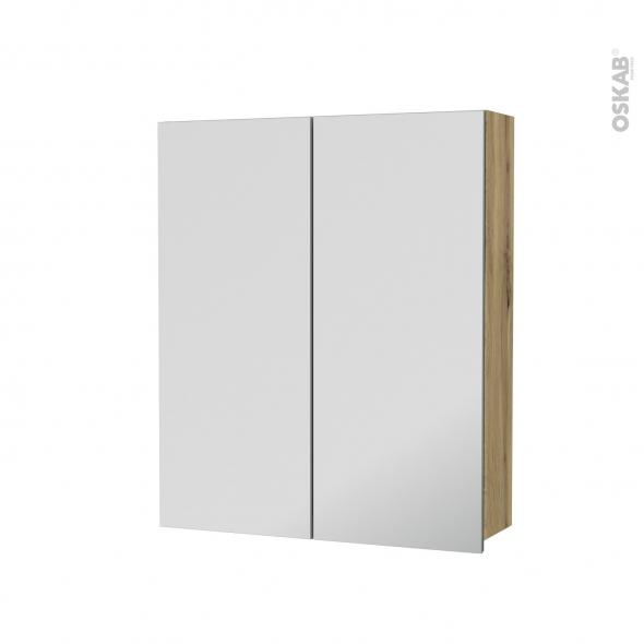 Armoire de toilette - Rangement haut - OKA Chêne - 2 portes miroir - Côtés décors - L60 x H70 x P17 cm