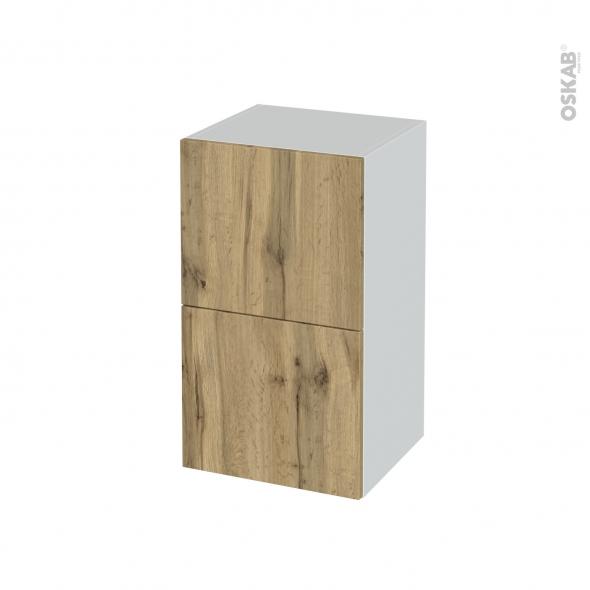 Meuble de salle de bains - Rangement bas - OKA Chêne - 2 tiroirs 1 tiroir à l'anglaise - L40 x H70 x P37 cm