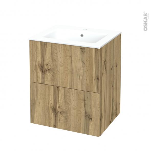 Meuble de salle de bains - Plan vasque NAJA - OKA Chêne - 2 tiroirs - Côtés décors - L60,5 x H71,5 x P50,5 cm