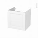 Meuble de salle de bains - Sous vasque - STATIC Blanc - 1 porte - Côtés décors - L60 x H57 x P50 cm