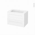 Meuble de salle de bains - Plan vasque REZO - STATIC Blanc - 2 tiroirs - Côtés décors - L80,5 x H58,5 x P50,5 cm