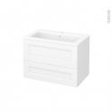 Meuble de salle de bains - Plan vasque NAJA - STATIC Blanc - 2 tiroirs - Côtés décors - L80,5 x H58,5 x P50,5 cm