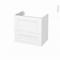 Meuble de salle de bains - Sous vasque - STATIC Blanc - 2 tiroirs - Côtés blancs - L60 x H57 x P40 cm