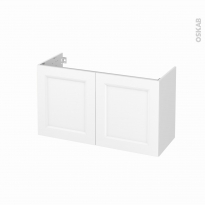 Meuble de salle de bains - Sous vasque - STATIC Blanc - 2 portes - Côtés blancs - L100 x H57 x P40 cm