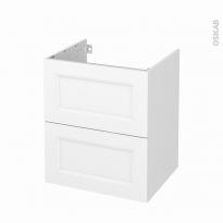 Meuble de salle de bains - Sous vasque - STATIC Blanc - 2 tiroirs - Côtés blancs - L60 x H70 x P50 cm