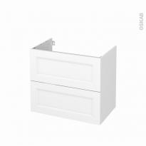 Meuble de salle de bains - Sous vasque - STATIC Blanc - 2 tiroirs - Côtés blancs - L80 x H70 x P50 cm