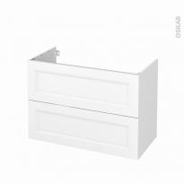 Meuble de salle de bains - Sous vasque - STATIC Blanc - 2 tiroirs - Côtés blancs - L100 x H70 x P50 cm
