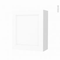 Armoire de salle de bains - Rangement haut - STATIC Blanc - 1 porte - Côtés blancs - L60 x H70 x P27 cm