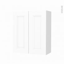 Armoire de salle de bains - Rangement haut - STATIC Blanc - 2 portes - Côtés blancs - L60 x H70 x P27 cm