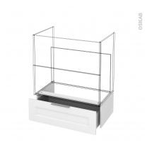 Tiroir sous meuble - Socle n°101 - STATIC Blanc - pour meuble salle de bains - L80 x H26 x P45 cm