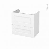 Meuble de salle de bains - Sous vasque - STATIC Blanc - 2 tiroirs - Côtés décors - L60 x H57 x P40 cm
