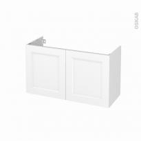 Meuble de salle de bains - Sous vasque - STATIC Blanc - 2 portes - Côtés décors - L100 x H57 x P40 cm
