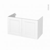 Meuble de salle de bains - Sous vasque - STATIC Blanc - 2 portes - Côtés décors - L100 x H57 x P50 cm