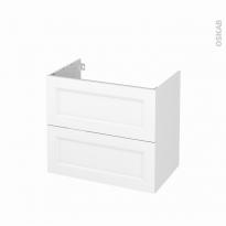 Meuble de salle de bains - Sous vasque - STATIC Blanc - 2 tiroirs - Côtés décors - L80 x H70 x P50 cm
