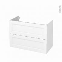 Meuble de salle de bains - Sous vasque - STATIC Blanc - 2 tiroirs - Côtés décors - L100 x H70 x P50 cm