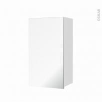 Armoire de salle de bains - Rangement haut - STATIC Blanc - 1 porte miroir - Côtés décors - L40 x H70 x P27 cm