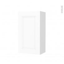 Armoire de salle de bains - Rangement haut - STATIC Blanc - 1 porte - Côtés décors - L40 x H70 x P27 cm