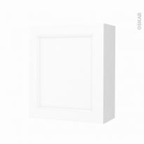 Armoire de salle de bains - Rangement haut - STATIC Blanc - 1 porte - Côtés décors - L60 x H70 x P27 cm