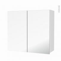 Armoire de salle de bains - Rangement haut - STATIC Blanc - 2 portes miroir - Côtés décors - L80 x H70 x P27 cm