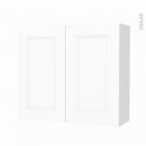 Armoire de salle de bains - Rangement haut - STATIC Blanc - 2 portes - Côtés décors - L80 x H70 x P27 cm