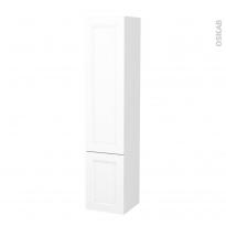 Colonne de salle de bains - 2 portes - STATIC Blanc - Côtés décors - Version B - L40 x H182 x P40 cm