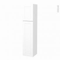 Colonne de salle de bains - 2 portes - STATIC Blanc - Côtés décors - Version A - L40 x H182 x P40 cm