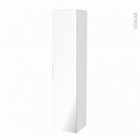 Colonne de salle de bains - 1 porte miroir - STATIC Blanc - Côtés décors - L40 x H182 x P40 cm