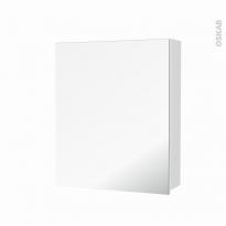 Armoire de toilette - Rangement haut - STATIC Blanc - 1 porte miroir - Côtés décors - L60 x H70 x P17 cm