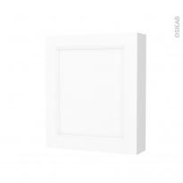 Armoire de toilette - Rangement haut - STATIC Blanc - 1 porte - Côtés décors - L60 x H70 x P17 cm